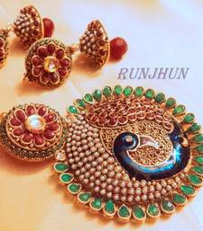 Buy red green big peacock pendent set  with chain Pendant online