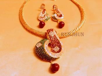 cz ruby panna royal necklace set