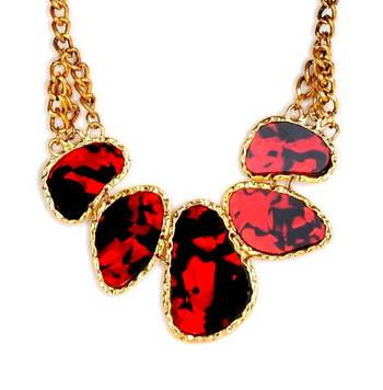 Red Leopard Print Collar Necklace