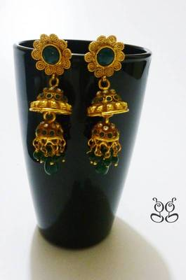 Gold plated Flower Danglers