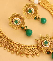 BEAUTIFUL ANTIQUE FLORAL GREEN NECKLACE SET-DJ00284