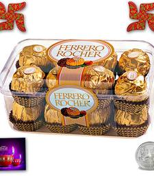Buy Delicious 16pc Ferrero Rocher  with Spiritual Wooden Swastik birthday-gift online