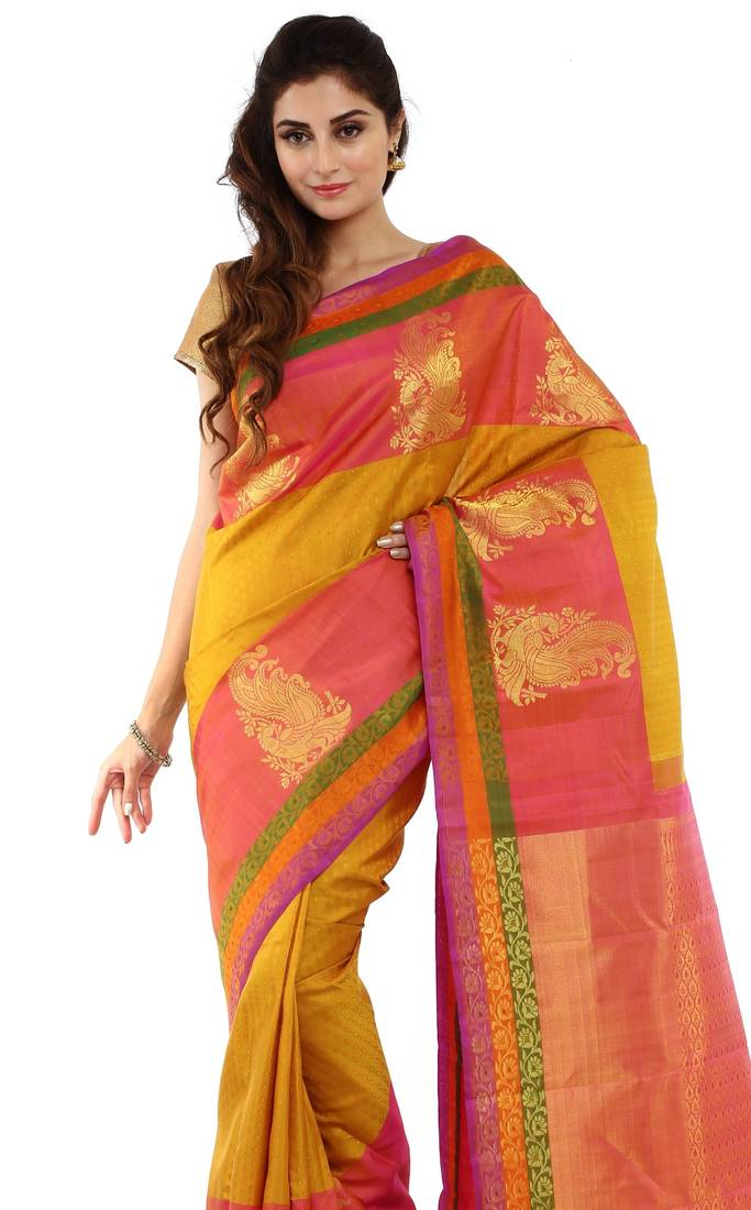 Buy Yellow Hand Woven Silk Saree With Blouse Online