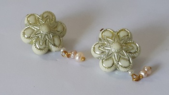 Floral Design Acrylic Studs With Pearls