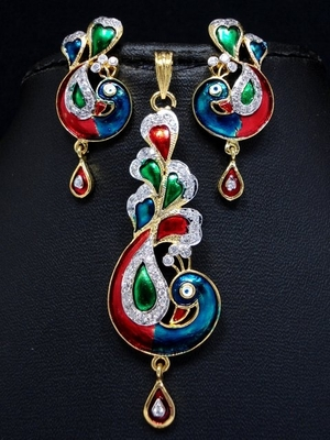 Peacock pendant set