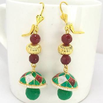 Meenakari Long Tokri Earring Green Maroon