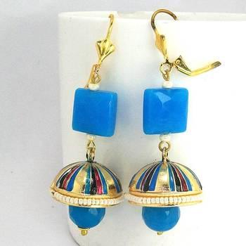 Meenakari Tokri Stone Earring Pearl Blue Pink