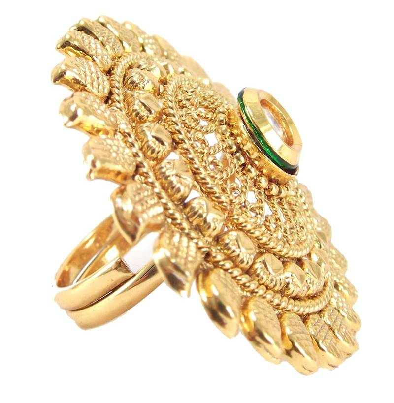 Buy maharani style kundan gold plated adjustable finger ring Online