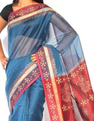 Supernet cotton zari contrast Printed saree