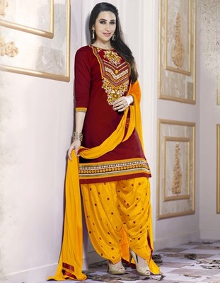 Maroon Pure Cotton Cambric embroidered salwar with dupatta