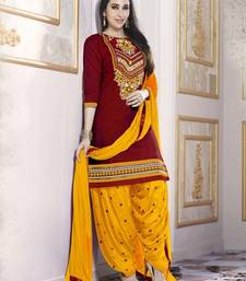 Buy Maroon Pure Cotton Cambric embroidered salwar with dupatta patiala-salwar online