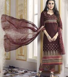 Brown Pure Cotton Cambric embroidered salwar with dupatta