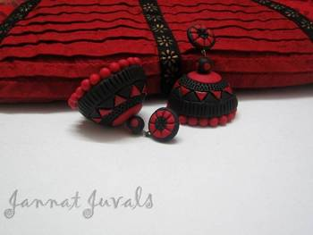 Red and Black Temple Jhumka