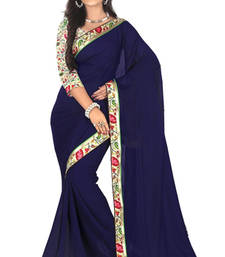 Buy Blue Faux Georgette Saree with Unstitched Blouse georgette-saree online