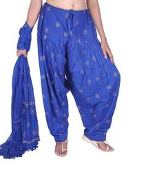 Buy  Ink Blue Rogan Printed Cotton Patiala & Dupatta Set patialas-pant online
