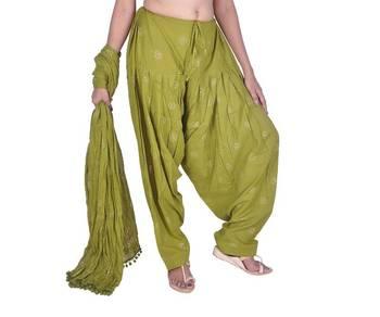 f22ee04081b Mehandi Green Rogan Printed Cotton Patiala & Dupatta Set - KALAPURI ...