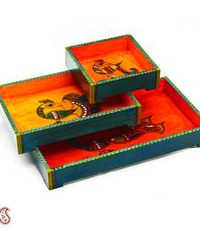 Buy Diwali Gifts Beautiful Orange + Green Trays (Set of 3) birthday-gift online