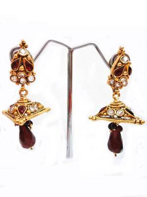 Maayra Golden Maroon Lovely Jhumkis