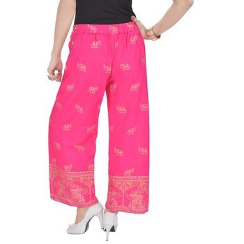 Pink Jaipuri Gold Print Cotton Palazzo