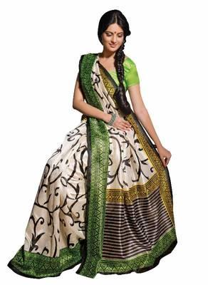 ISHIN Bhagalpuri Silk Off-White & Green Saree BCVIP-7718
