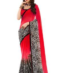 Buy Red And Black Chiffon Designer Printed Saree With Blouse chiffon-saree online