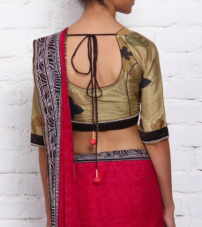 Buy Khakhi Raw Silk Readymade Blouse Online