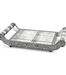 Buy Pure White Metal Dryfruit Tray Handicraft  gift home-decor online