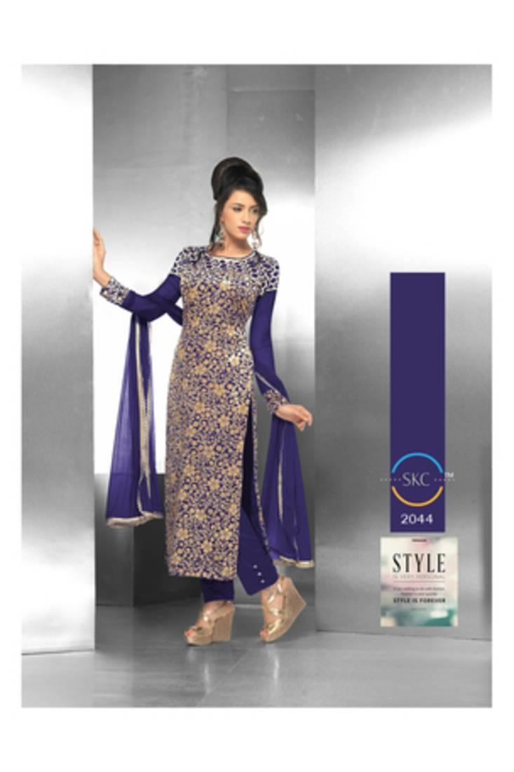 Buy Blue Embroidered Velvet Semi Stitched Salwar With Dupatta Online Kemeja Lavender Multicolor Shop At