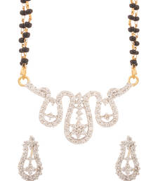 Buy Glitz & Glam Floral Drop Double Chain Mangalsutra Set mangalsutra online