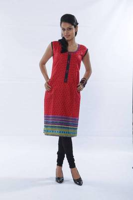 ISHIN Cotton Red Kurti
