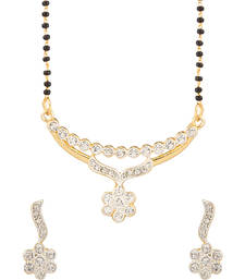 Buy Single Chain Flower Mangalsutra Set With Austrian Diamonds mangalsutra online