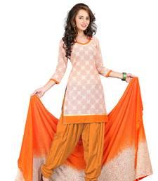 Buy Cream and Orange embroidered Jute salwar with dupatta punjabi-suit online