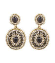 Buy Black and Gold Filigiree Dangler earings with Pearl Drops danglers-drop online