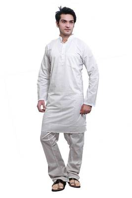 ISHIN  White Cotton Kurta & Pyjama Set