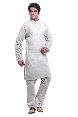 ISHIN White Cotton Embroidered Kurta & Pyjama Set