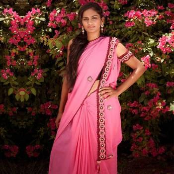 Romantic: Inimitable Crochet Saree with Crochet Sleeves | Dark Pink