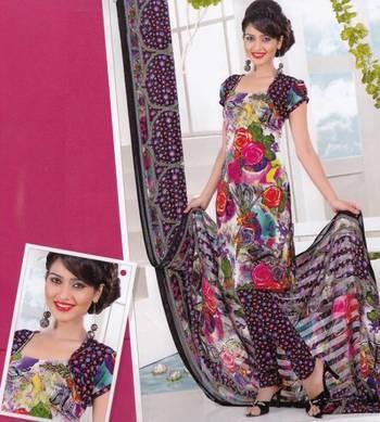 Dress material crepe designer prints unstitched salwar kameez suit d.no AP810