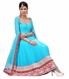 Blue Georgette Plain semi_stitched salwar with dupatta