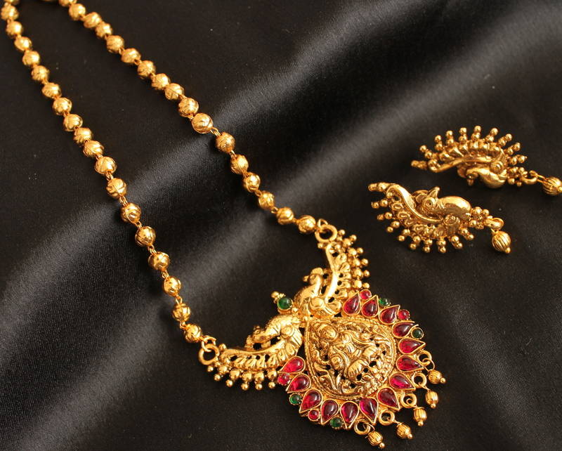 Buy Divine Antique Traditional Lakshmi Pendant Long Chain
