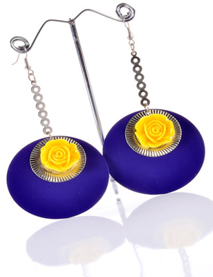 Blue and Yellow Rose Earring