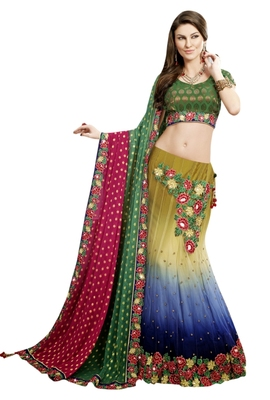 Designer Multi Embroidered Net Unstitched Lehenga