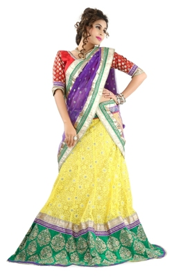 Designer Net Fabric  Yellow Colored Embroidered Lahenga Choli