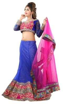 Designer Net Fabric  Blue Colored Embroidered Lahenga choli