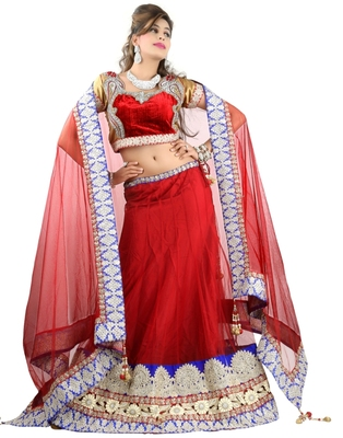 Designer Net Fabric  Red Colored Embroidered Lahenga choli