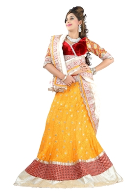 Designer Net Fabric  orange Colored Embroidered Lahenga choli