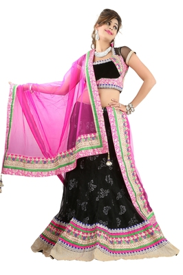 Designer Net Fabric  pink Colored Embroidered Lahenga choli