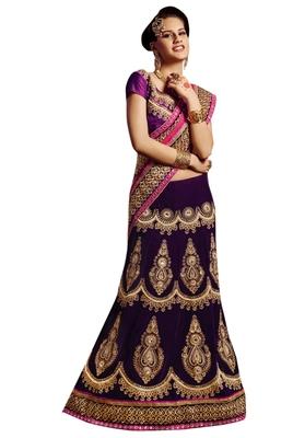Designer Net Fabric Purple Colored Embroidered Lahenga choli