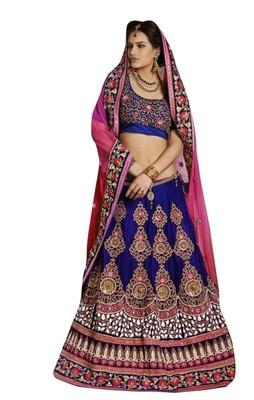 Designer Net Fabric Blue Colored Embroidered Lahenga choli