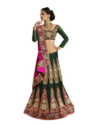 Designer Net Fabric Green Colored Embroidered Lahenga choli