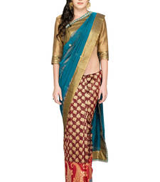 Buy Blue woven silk saree with blouse brocade-saree online